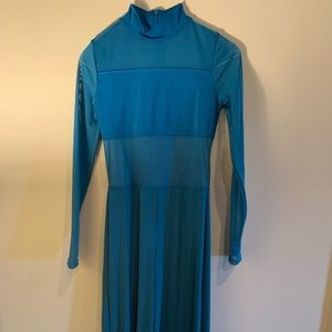 Balera Turq. Blue Mesh Long Sleeve Lyrical Costume